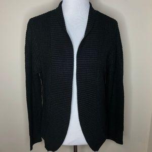 New York & Company Black Waffle Knit Cardigan L